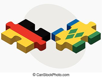 Germany and Saint Vincent and the Grenadines Flags in puzzle...