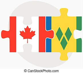 Canada and Saint Vincent and the Grenadines Flags in puzzle...