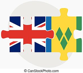 United Kingdom and Saint Vincent and the Grenadines Flags in...
