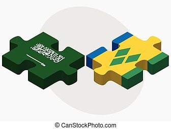Saudi Arabia and Saint Vincent and the Grenadines Flags in...