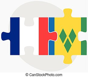 France and Saint Vincent and the Grenadines Flags in puzzle...