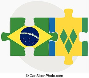 Brazil and Saint Vincent and the Grenadines Flags in puzzle...