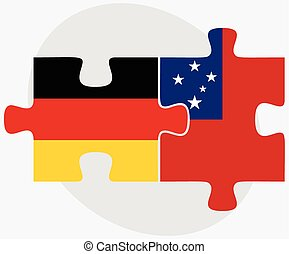 Germany and Samoa Flags in puzzle isolated on white...