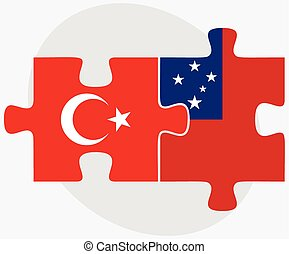 Turkey and Samoa Flags in puzzle isolated on white...