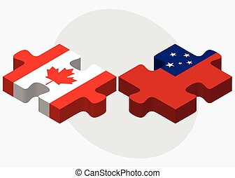 Canada and Samoa Flags in puzzle isolated on white...