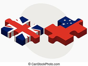 United Kingdom and Samoa Flags in puzzle isolated on white...