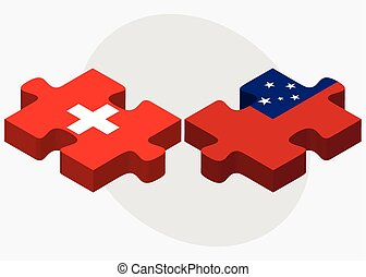Switzerland and Samoa Flags in puzzle isolated on white...