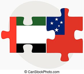 United Arab Emirates and Samoa Flags in puzzle isolated on...