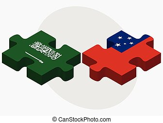 Saudi Arabia and Samoa Flags in puzzle isolated on white...