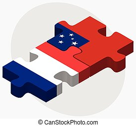 France and Samoa Flags in puzzle isolated on white...