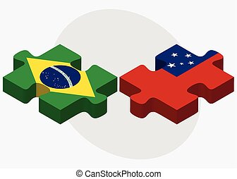 Brazil and Samoa Flags in puzzle isolated on white...