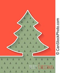 Christmas greeting card with white tree and christmastree...