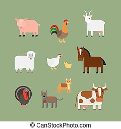 Farm animals vector - Farm animals. Pig and rooster horse...