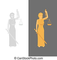 Lady Justice or Justitia - Lady Justice. Vector Justitia in...