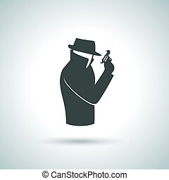 Secret agent icon - Secret service agent. Man in suit with...