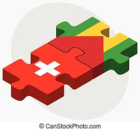 Switzerland and Sao Tome and Principe Flags in puzzle...