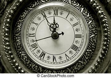 antique clock in closeup