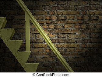 grung Old yellow staircase made of cement on Red brick wal