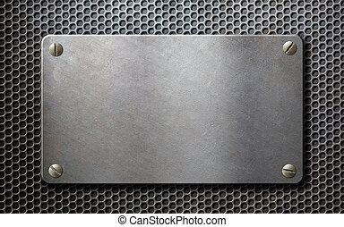 old metal plate over grid metallic background - metal plate...