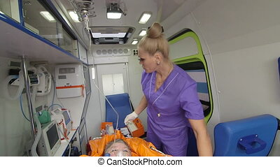 Senior person receiving medication via intravenous therapy...