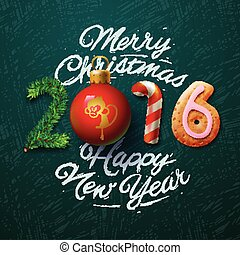 Merry Christmas 2016 greeting card