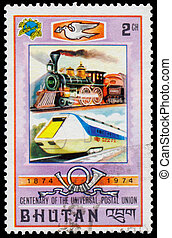 Stamp printed in Bhutan shows old and modern railway