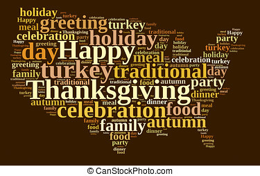 Thanksgiving. - Illustration with word cloud on...