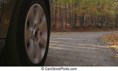 Sunday drive on country road in autumn spinning front wheel...