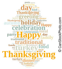 Thanksgiving - Illustration with word cloud on Thanksgiving...