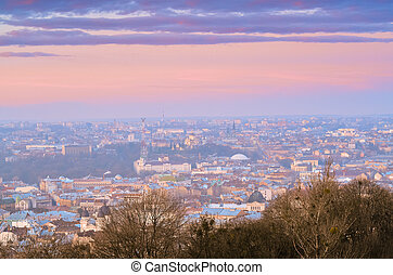 Sunrise in the Lviv city view on th