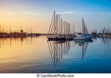 Sunrise over the Alicante harbor, Costa Blanca