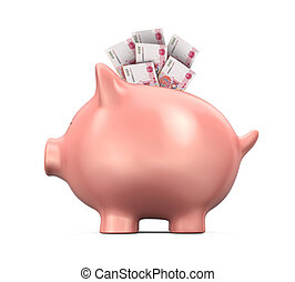 Piggy Bank with Chinese Yuan isolated on white background 3D...