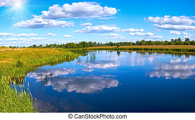 Summer rushy lake panorama view with clouds reflections and...