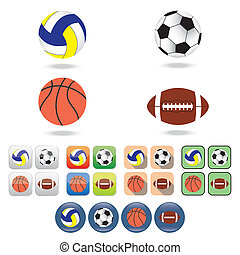 Icons of balls for different sports Balls for volleyball,...