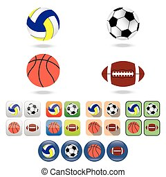 Icons of  balls for different sport