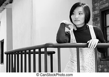 lonely beauty - Lonely Asian beauty portrait stand in...