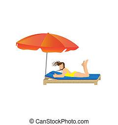 Woman lying under a beach umbrella Illustration, elements...