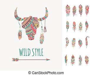 Bohemian style Bull Skull poster with set of feathers -...