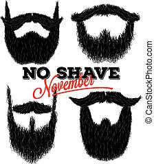 Set of curly hipster beards for No Shave November - Set of...
