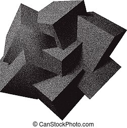 Abstract 3D overlapping dotwork cubes - Abstract 3D...