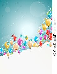 flying balloons with blank paper