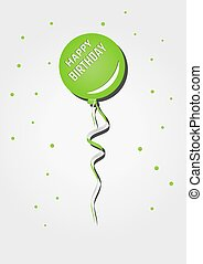 one green balloon with birthday wish