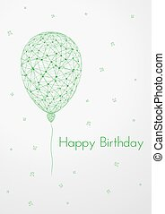 birthday card with linear balloon