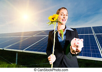 Green Energy - Solar panels with blue sky - Photovoltaic...