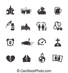 Alcoholism icons set. Vector icons