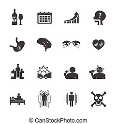 Alcoholism icons set Vector icons