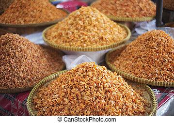 cambodia, camarão, Asiático, pequeno,  kep, mercado, secado