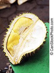 tropicais, exoticas, corte, durian, fruta, em, kep,...