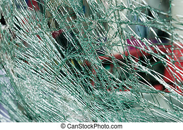 Shattered car windscreen - A close up of a shattered car...