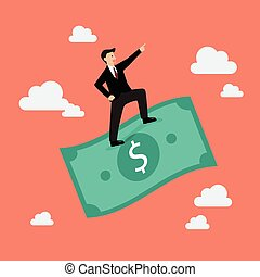 Businessman standing on a flying money. Business concept